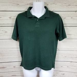 LANDS END green polo short sleeve youth large